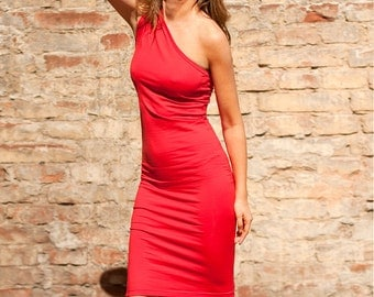 Red dress Party dress Cotton dress  City dress One Shoulder dress Casual dress