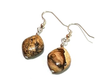 1 Inch Small Stone Earrings; Brown Stone Earrings; Tan Earrings; Natural stone Earrings, Marble Stone Earrings