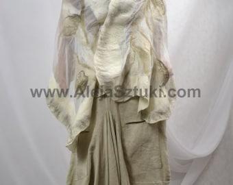 Felted Art scarf Wrap Shawl Wool Merino, Silk. Organic natural eco materials Beige shadow Nuno felting,