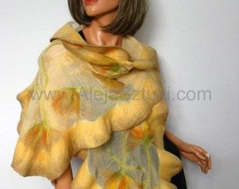 FREE SHIPPING Felted Art scarf Wrap Shawl Silk Wool Merino. Organic natural eco materials Nuno felting Unique for Woman. Beige shawl