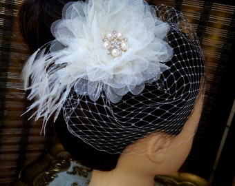Ivory Birdcage Veil and Flower Feather Fascinator -  Wedding Fascinator, Large Ivory Flower Fascinator, Birdcage Veil Fascinator