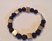 Black Lava and Bronze Cube Beaded Bracelet
