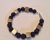 Black Lava and Bronze Cube Beaded Bracelet