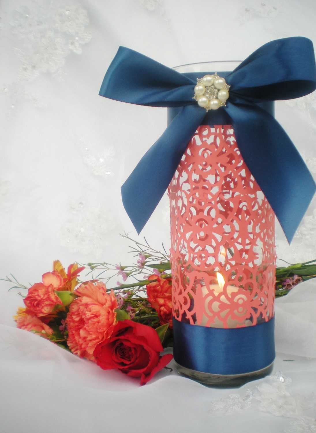 Wedding Centerpiece 10 Tall Coral Navy Blue Intricate