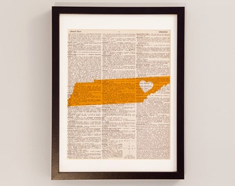 Tennessee Volunteers Print - Knoxville Art - Print on Vintage Dictionary Paper - University of Tennessee - Rocky Top - Graduation Gift