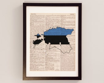 Estonia Dictionary Art Print - Tallinn Art - Print on Vintage Dictionary Paper - Estonia Flag, Any Color, Heart on Tartu, Narva, Parnu