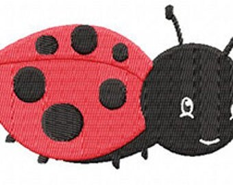 4X4 LadyBug Machine Embroidery Design Multiple Formats Available - Instant Download