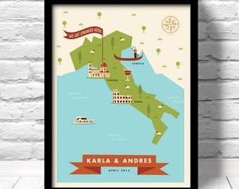 Engagement Map, Custom Story Map, Custom vacation map, Wedding map, custom map print, 100% personalized, anniversary map, just married map