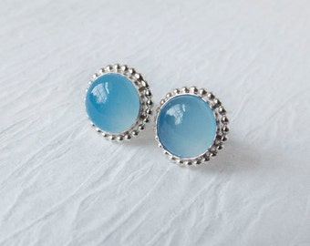 Chalcedony Stud Earrings, Blue Sterling Silver Stud Earrings, Polished Silver, Blue Chalcedony Gemstone Stud Earrings, Everyday Earrings