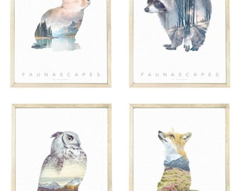 Faunascape A3 Art Prints Set #1 by WhatWeDo