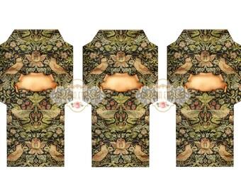 DAMASK - Printable Download Digital Collage Sheet Tea Bag Holder Envelopes - Paper Cut Template