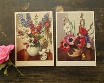 Vintage Swedish postcard set of 2 Swedish Greeting cards Swedish floral postcards