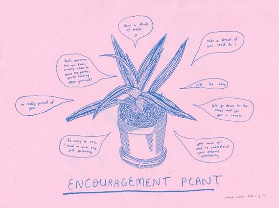 Encouragement Plant risograph print