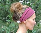 Custom Size Wide Yoga Headband - Burgundy + Graphic Blooms