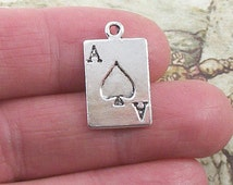 8 pc. Ace of Spades charm, 22x13mm, antique silver finish