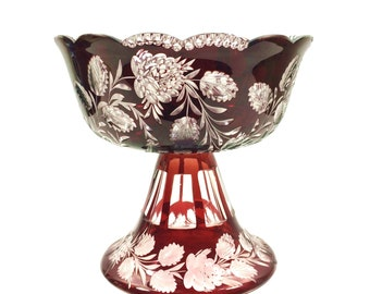 """Large Vintage Ruby Cut to Clear Crystal Centerpiece Bowl with Rose & Floral Design and Pedestal Base, 9"""" Across by 9"""" Tall"""