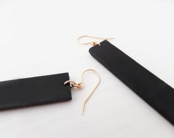 Black Long Statement Earrings  ,Perspex Earrings ,Flat Rectangular Dangle Earrings