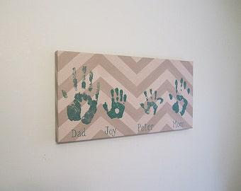 "Any Color, Chevron Family Handprint or Footprint Canvas Art with Print Kit, Personalized, Custom Handpainted Keepsake, 12x24"""