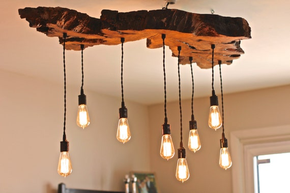 Olive Wood Live Edge Light Fixture Earthy Rustic Contemporary