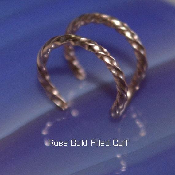 Small 14k Rose Gold Filled Nose Cuff - Fake Hoop Earring - Ear Cuff - Faux Piercing - Cartilage Cuff - Tragus Cuff - Helix Cuff 20 gauge