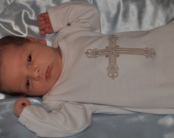 Organic Layette Gown with Cross Embroidery