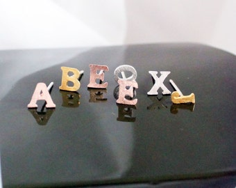 Tiny Initial Earrings, Pair Of Mix And Match Earrings, .925 Sterling Silver Posts, Gold Or Silver Or Rose Gold Letter Earrings, Wedding