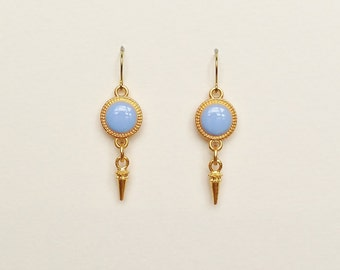 Purple Earrings with Gold Spike Charms, Light Purple Resin Disc Earrings, Lavender Dangle Earrings, Hypoallergenic, Resin Jewelry For Her
