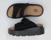 Black Leather Chunky    Platform  Children Clogs Kids Shoes Vintage Girls Sandals Open Toe Size 30