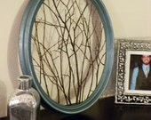 Natural Decor Framed Twiggy Art Wall Hanging, Handmade from Upcycled Materials!