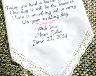 Flower Girl Wedding Gift Embroidered Wedding Handkerchief, Something Old, by White Dove Weddings