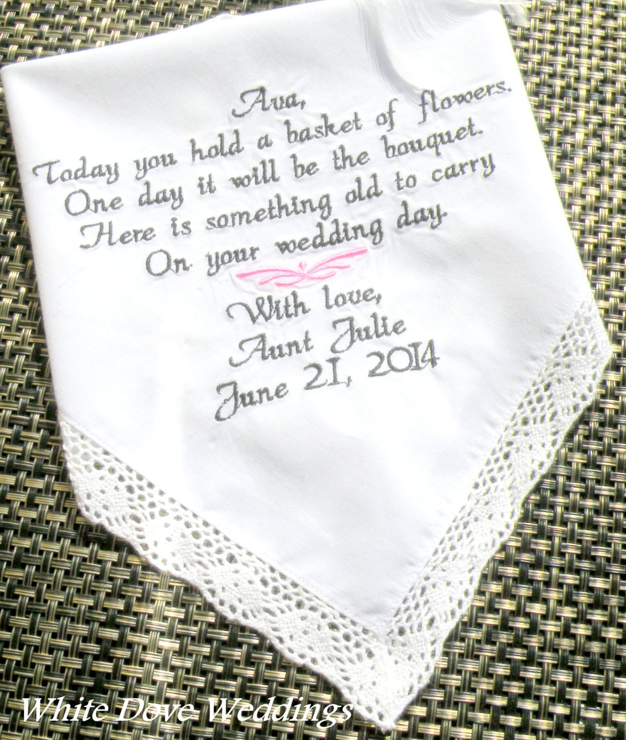 Flowers For Wedding Gift: Flower Girl Wedding Gift Embroidered Wedding Handkerchief
