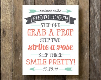 Photo Booth Sign - Wedding Photo Booth - Customized Photo Booth Sign - Photo Booth Printable - Wedding Photo Booth Sign - Photobooth Sign