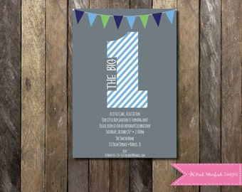 PRINTABLE  First Birthday Invitation - 1st Birthday Invitation Fully Customizable -  Girls Boys Birthday Party 4x6 or 5x7