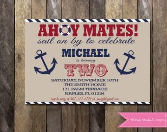 Nautical Birthday Invitation, Nautical Second Birthday Invitation, Nautical Invitation, Navy Blue, Anchor, Sailboat Invitation, Digital File