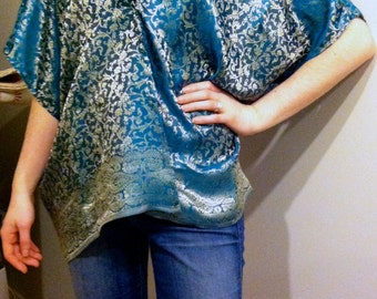 Drape-y, Silky Shawl - Reversible!  Handmade from Recycled Textiles