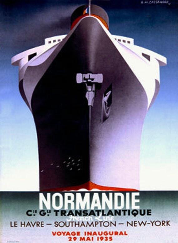 Vintage Normandie 1935 Cassandre Ocean Liner By Vintagemasters