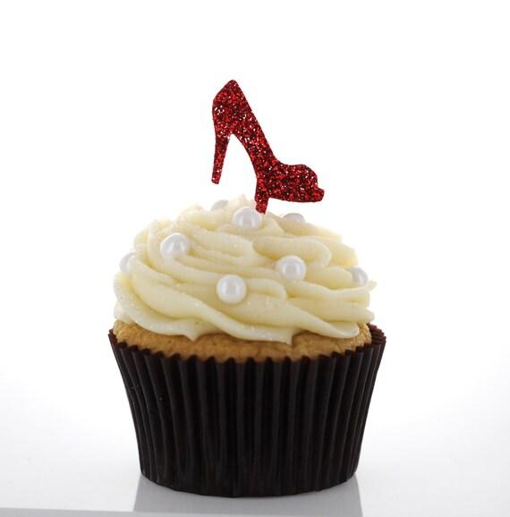 glitter acrylic cupcake toppers high heel shoe fashion