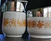 Gemco Gold Butterfly Cream & Sugar Set Corelle Corning White Glass Yellow Flowers Floral Chrome Plated Dispenser Lids Corelle Butterfly Gold