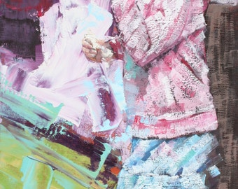 Limited edition, art print, giclee, on 100% cotton rag, archival paper, original, impressionist, oil, painting, 'Ice-cream'. Pink, Purple.
