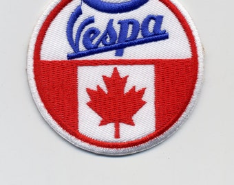 Vintage Style Vespa Patch/Badge with Flags U.K. U.S.A. and Canada