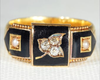 Antique Victorian Memorial Ring with Black Enamel, Diamonds and Pearls