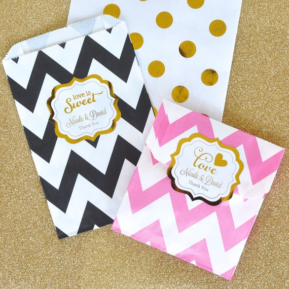 to Black and Gold Wedding Favor Bags - Love is Sweet Candy Bags ...