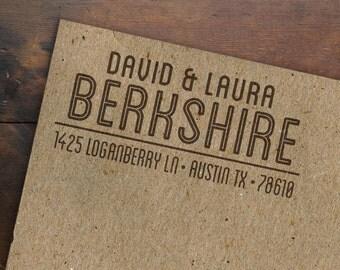 Personalized Return Address Stamp • Rubber Stamp • Custom Address Stamp • Made to Order • Wooden Handle • Housewarming Wedding Stamp Gift