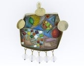 Cloisonné Clown Figure with Abstract Shapes Convertible Pendant/Brooch 14K Gold -- Mary Amelia Kretsinger