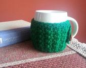 Crochet Mug Cozy 2 pc Set Forrest Green