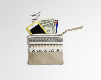 Repurposed Geometric Fabric & Sand Suede Small Zipper Pouch / Coin Purse Wallet