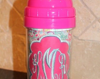 Pink/Aqua Floral Monogram Sippy Cup - Personalized w/ Monogram or Name - SIPPY or STRAW Top options
