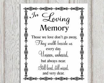 Wonderful In Loving Memory Printable Memorial Table Wedding Memorial Sign Memorial  Quotes Those We Love Donu0027 Ideas