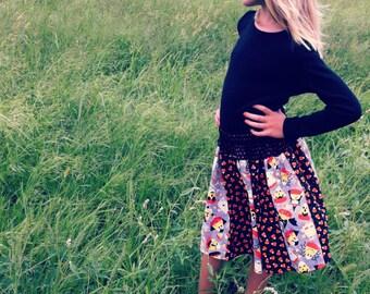 Girls Halloween Skirt, Girls Skirt, Candy Corn Skirt, Girls Elastic Waist Skirt, Size 6 Skirt, Size 7 Skirt, Size 8 Skirt, Size 9 Skirt