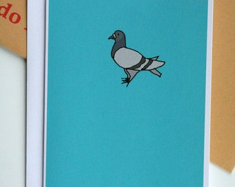 Blue Pigeon Illustration A6 Card